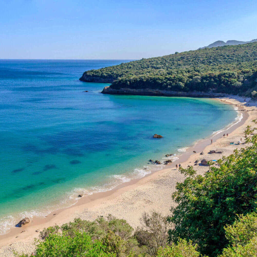 Praias do Parque natural da Arrábida em Setúbal